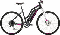 "elektrokolo Rock Machine CrossRide e350 lady mat black/silver/pink +bat. 418 Wh, 19"" (L)"